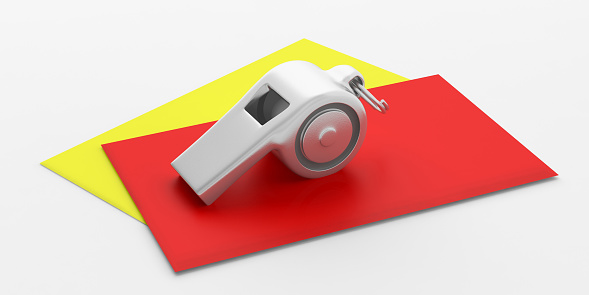 istock Whistle and red yellow cards isolated on white background. 3d illustration 1053136696