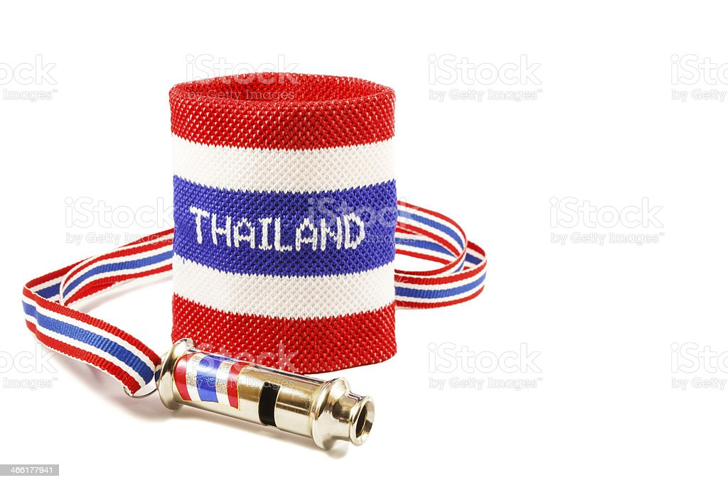 Whistle and wristband stock photo