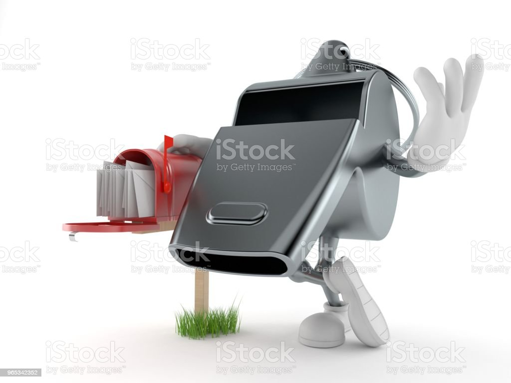 Whistle character with mailbox royalty-free stock photo