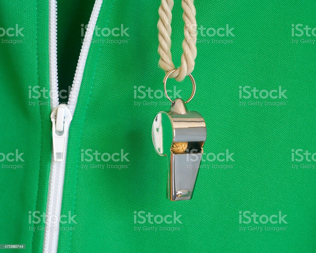 whistle of a soccer o. football referee stock photo