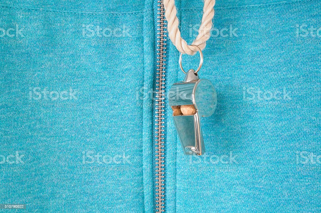 whistle of a soccer or football referee / coach stock photo