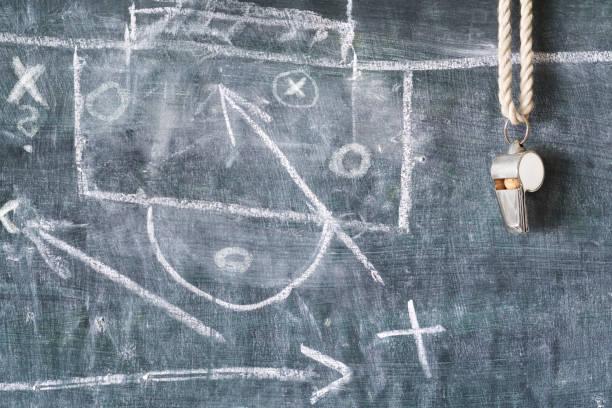 coup de sifflet de l'arbitre soccer ou football, tactiques de football - Photo
