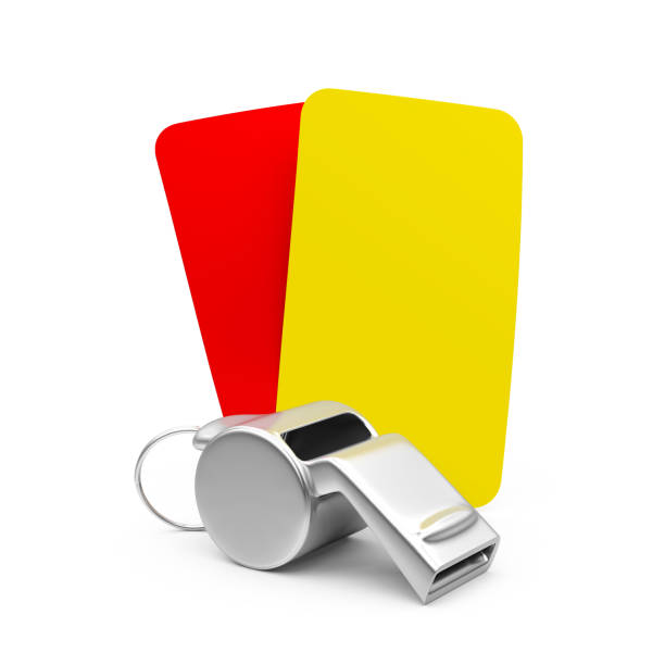 whistle with red and yellow cards isolated - judge sports official stock photos and pictures