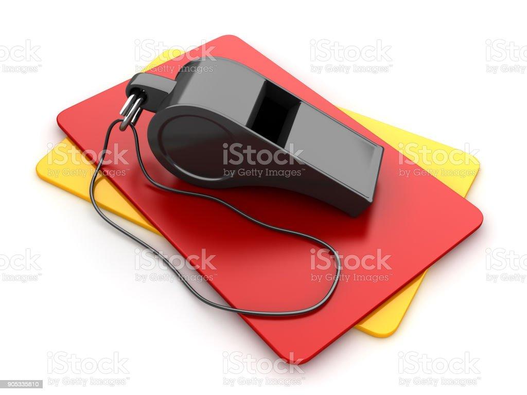Sifflet avec carte jaune et rouge - Photo