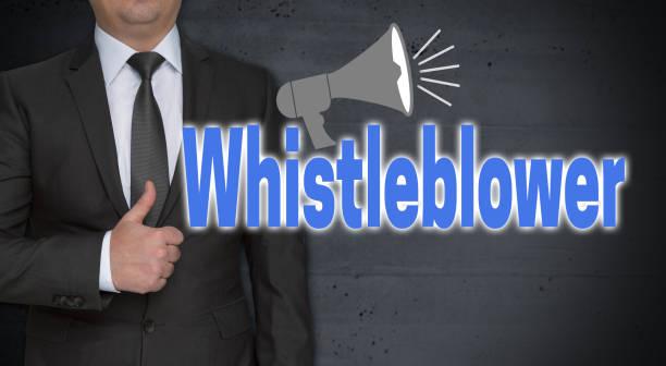 Whistleblower-Konzept und Geschäftsmann mit Daumen nach oben – Foto