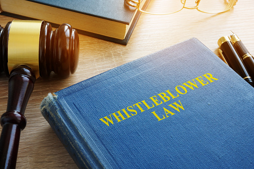 Whistleblower Law On A Court Desk Stock Photo - Download Image Now