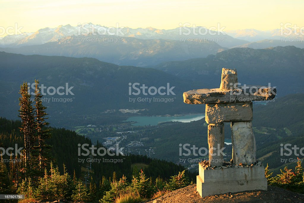 Whistler British Columbia Inukshuk stock photo
