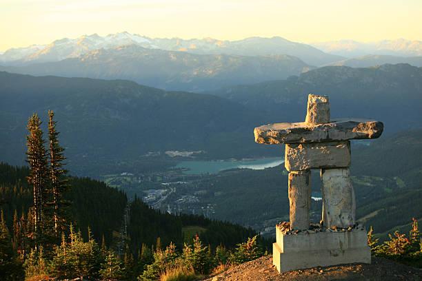 Whistler British Columbia Inukshuk stock photo