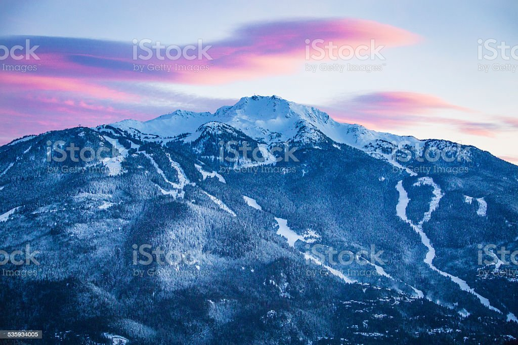 Whistler mountain at dusk. stock photo