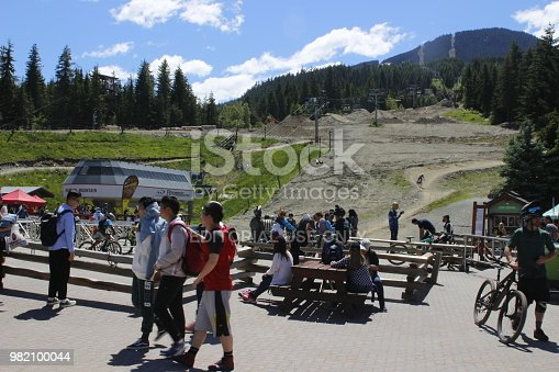 June 16 2018, Whistler British Columbia. The practice area in the summer time for the amateur mountain bikers. This area is where all of the outdoor enthusiasts and tourists flock to get some exercise while being on the mountain. This photo shows the waiting/watching area as well as the mountain and dirt in the background.