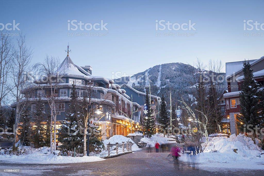 Whistler Village at Dusk stock photo