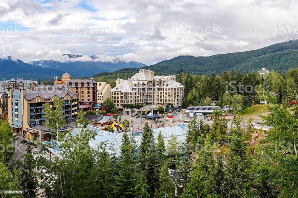 Whistler Village in Vancouver, British Columbia, Canada. stock photo