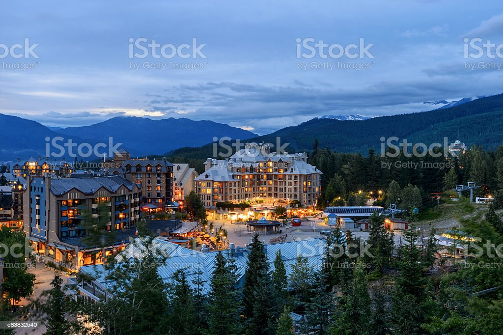 Whistler Village in Vancouver, British Columbia, Canada. stock photo