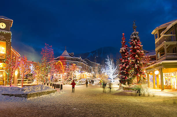 whistler village in winter - village stock pictures, royalty-free photos & images