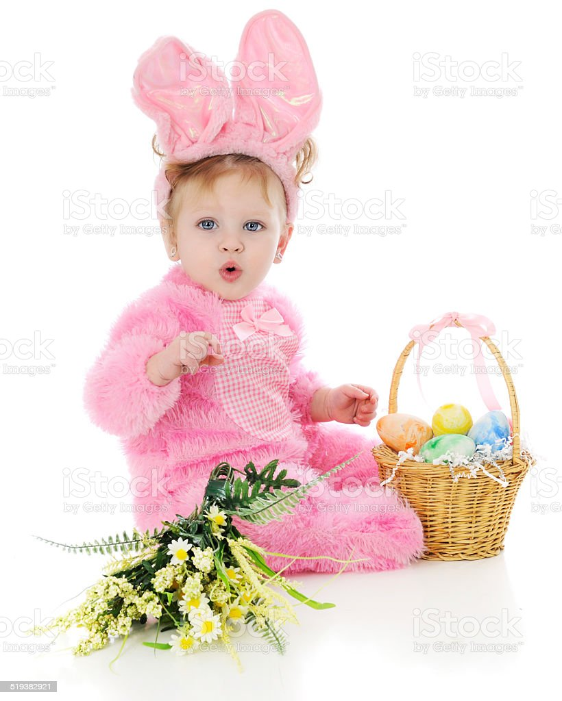 Whistling Easter Bunny stock photo
