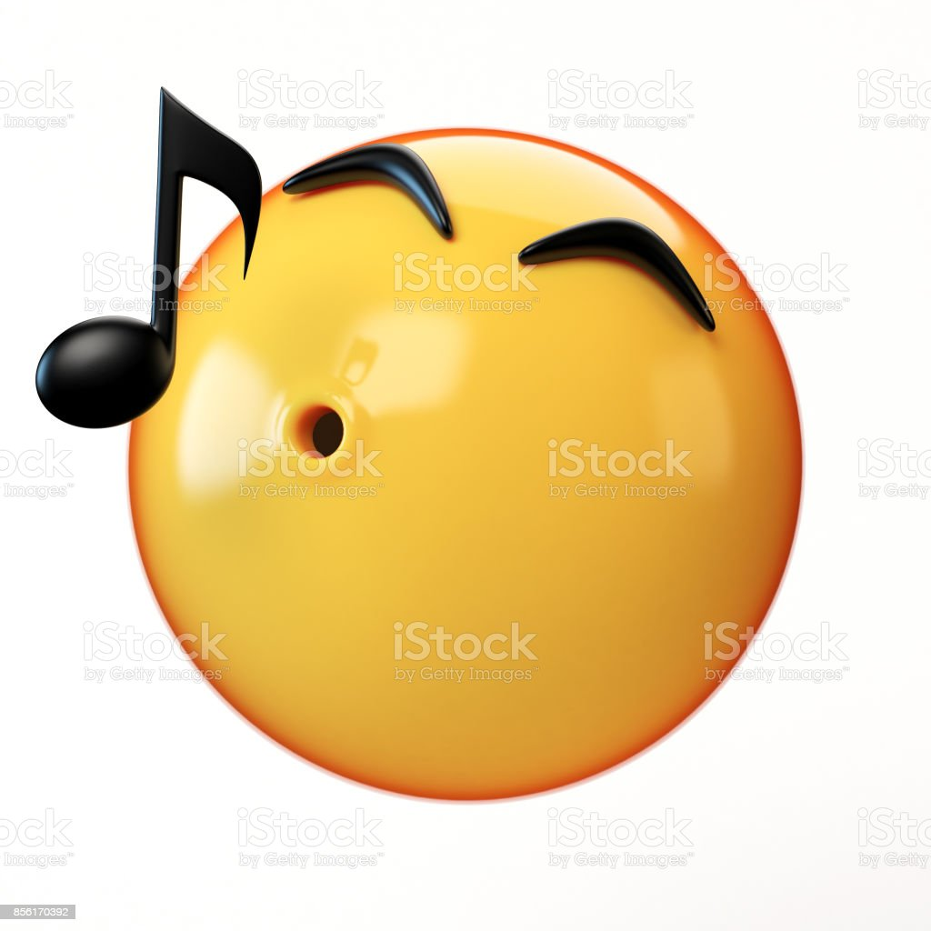 Whistling emoji isolated on white background, music emoticon 3d rendering stock photo