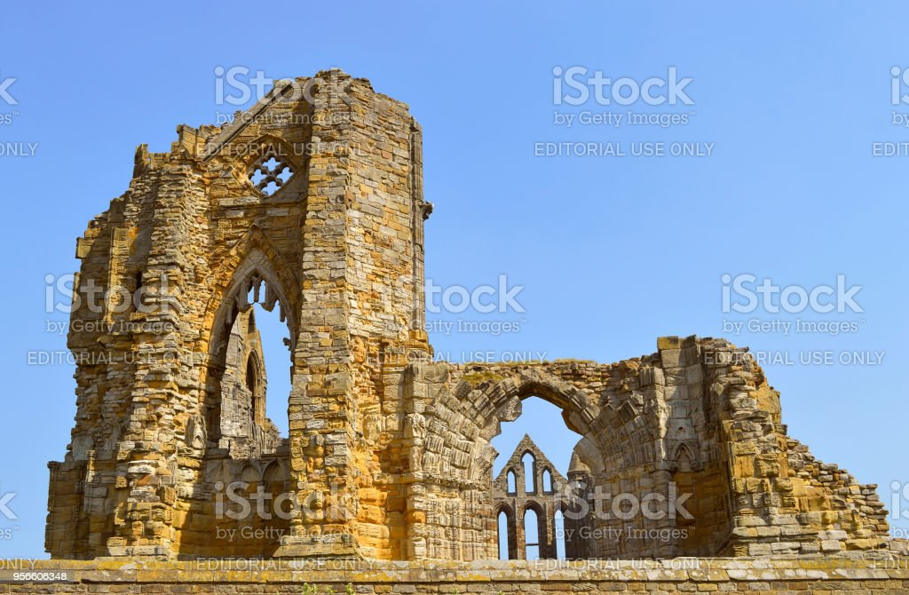 Whitby Abbey a 7th-century Christian monastery stock photo