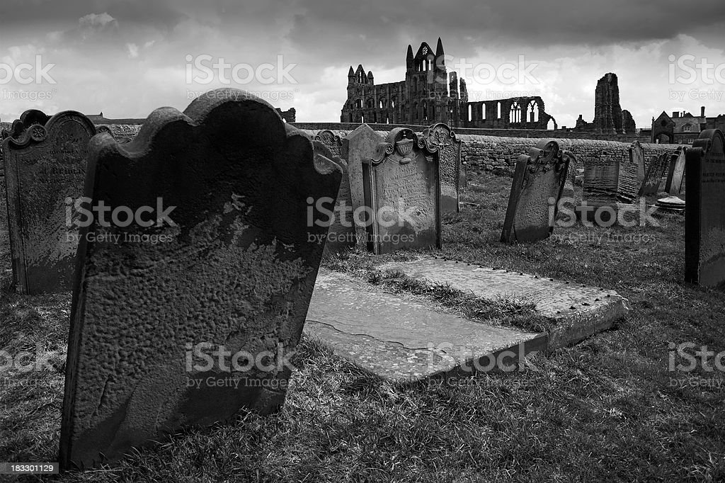 Whitby Abbey graves royalty-free stock photo