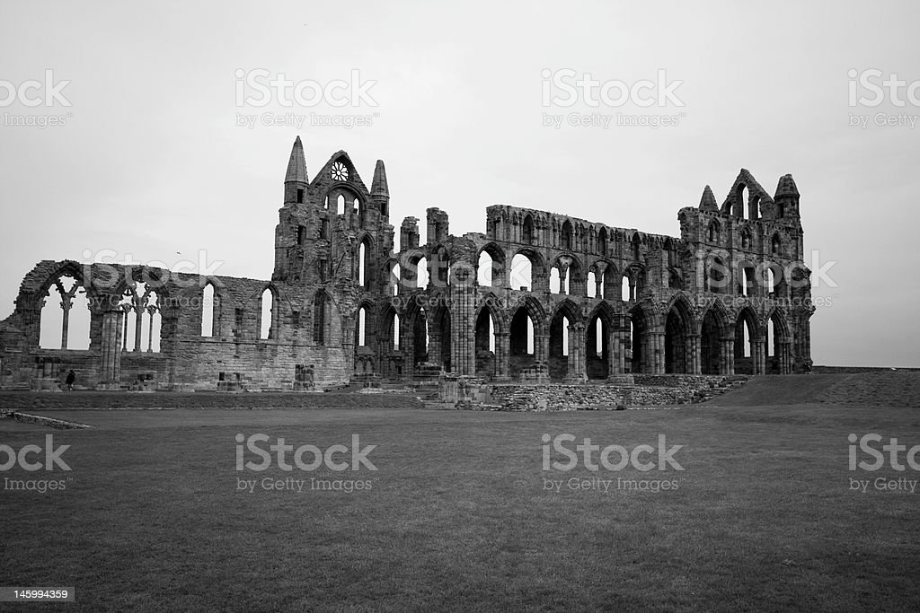 Whitby Abbey in Black & White stock photo
