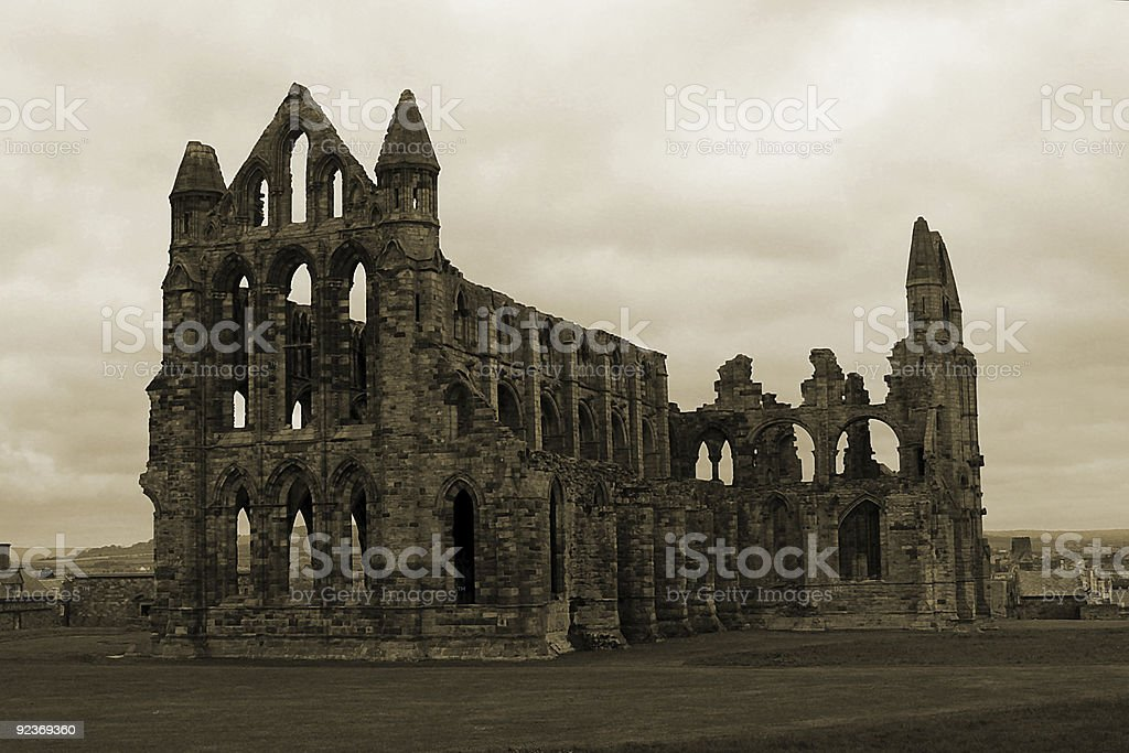 Whitby Abbey in Sepia royalty-free stock photo