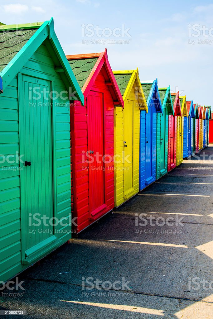 Whitby beach huts stock photo