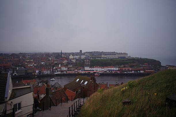Whitby Cityscape from the Hills stock photo
