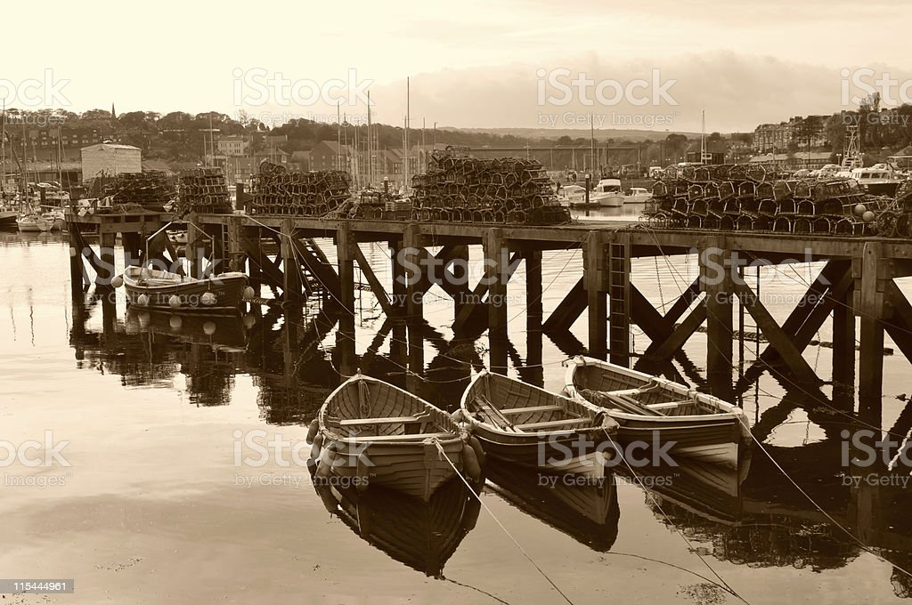 Whitby Harbour in Sepia royalty-free stock photo