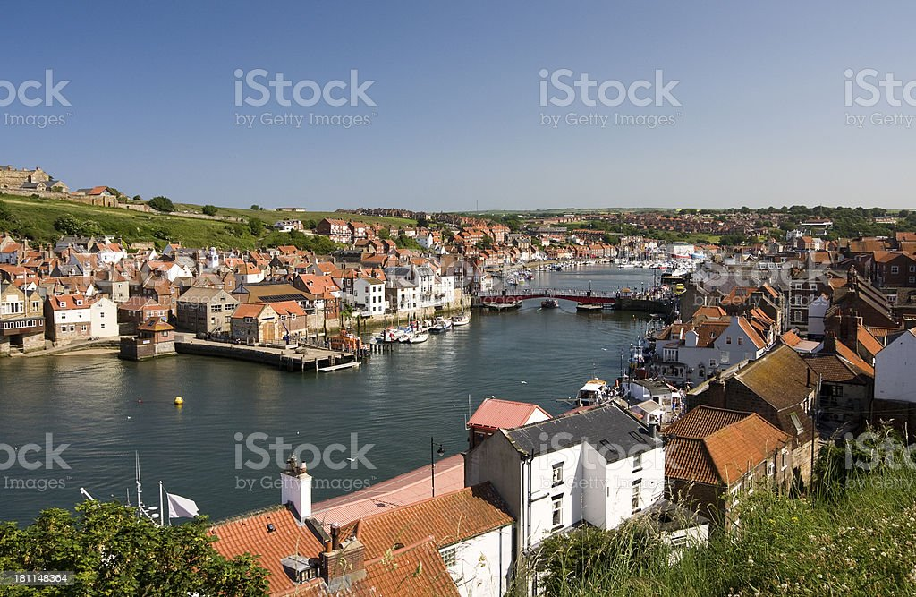 Whitby harbour waterfront buildings on the coast of North Yorkshire stock photo