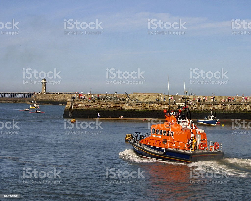 Whitby lifeboat stock photo