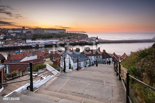 The famous 199 Steps at Whitby leading from the town up to the Abbey and church