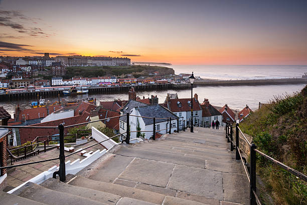 Whitbys 199 Steps The famous 199 Steps at Whitby leading from the town up to the Abbey and church moor stock pictures, royalty-free photos & images