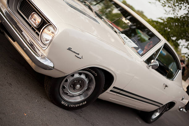 White 1969 Plymouth Barracuda stock photo