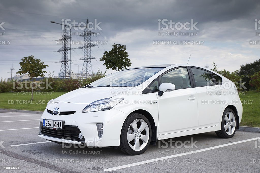 White 2012 Toyota Prius stock photo