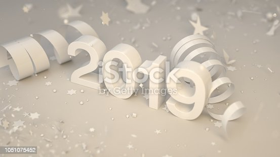 istock White 2019 number with confetti and serpentine 1051075452