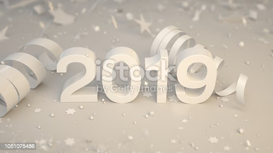 1051075452 istock photo White 2019 number with confetti and serpentine 1051075486