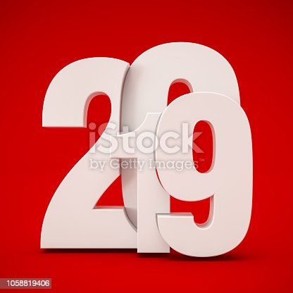 istock White 2019 Text on Red Background 1058819406