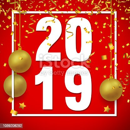 istock White 2019 Text with Confetti on Red Background 1059208252