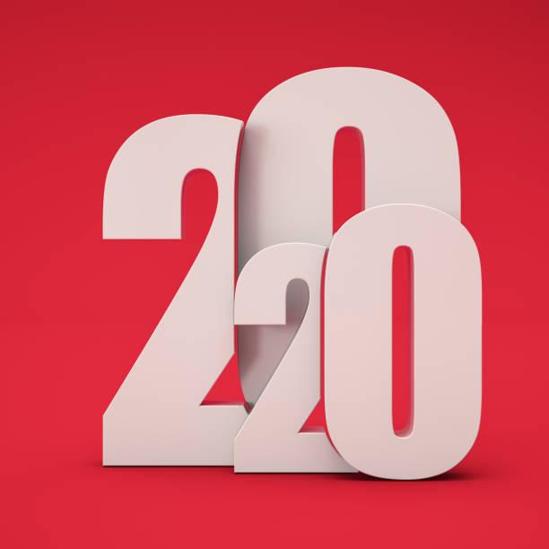 weißer 2020 text auf rotem hintergrund - 3d typografie stock-fotos und bilder
