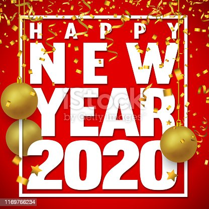 istock White 2020 Text on Red Background with Christmas Ornaments and Confetti 1169766234