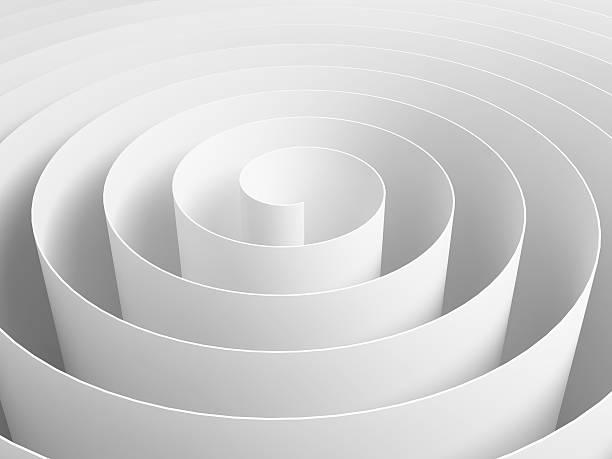 weiße 3d abstract spiral aus papier streifen - papierrollen stock-fotos und bilder