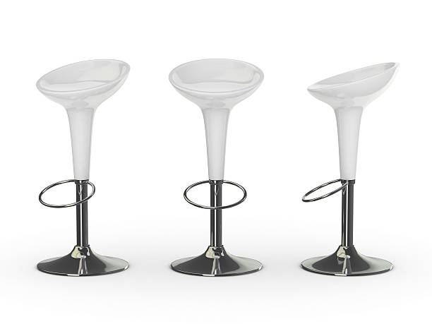 white 3d bar chair white bar chair stool stock pictures, royalty-free photos & images