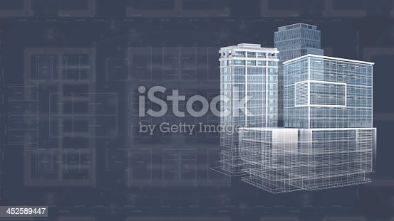 507211101 istock photo White 3D blueprint of an architecture project 452589447