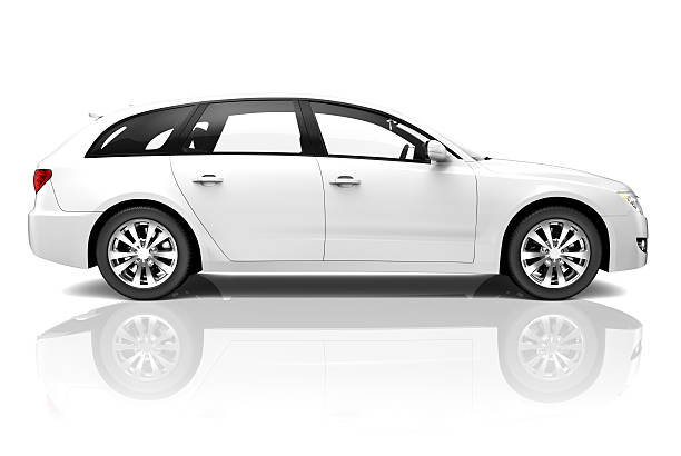 white 3d car luxury suv - side view stock photos and pictures