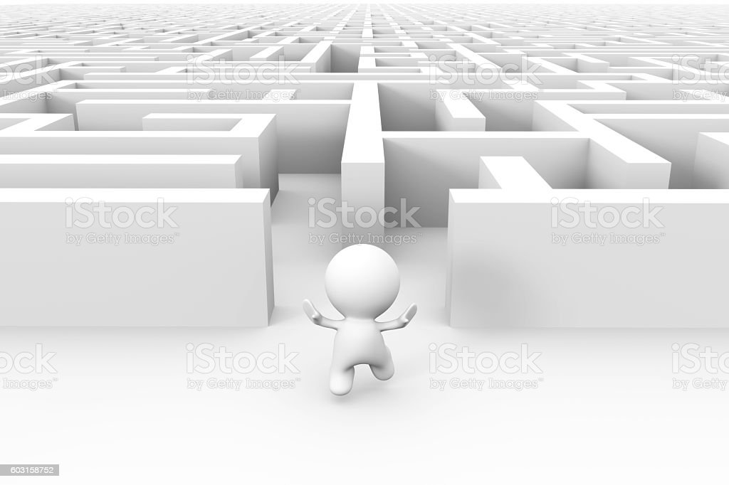 white 3d character finding the exit out of a maze stock photo