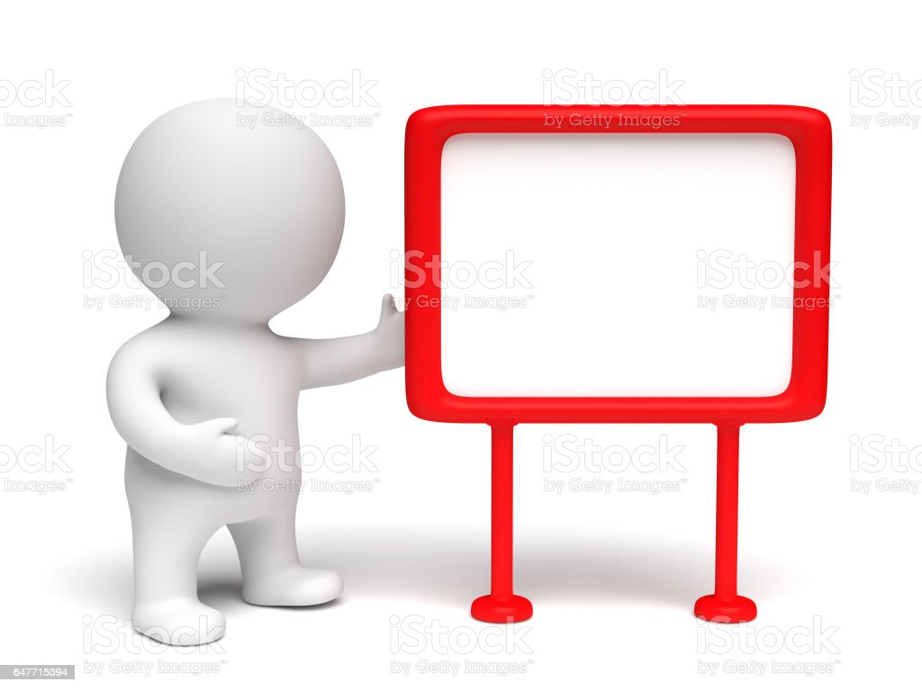 white 3d character presenting a red framed blank board in a white scene - foto stock