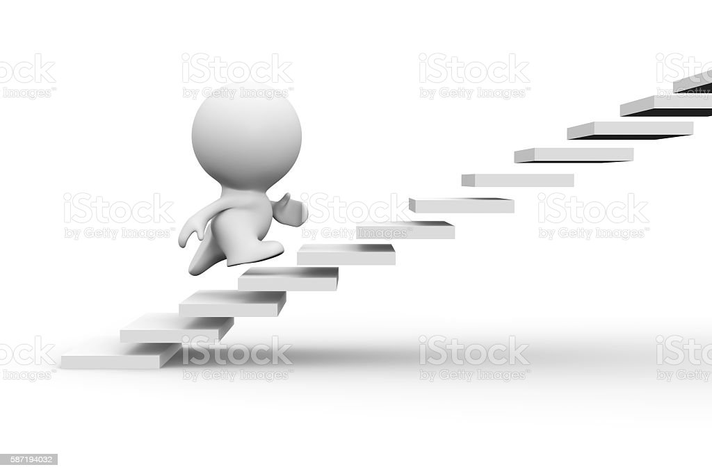 white 3d human character running up on stairs stock photo