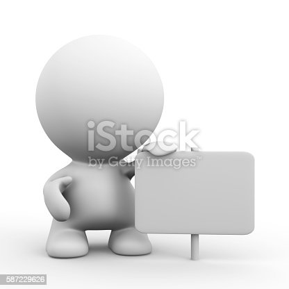 istock white 3d human character with one hand on blank sign 587229626