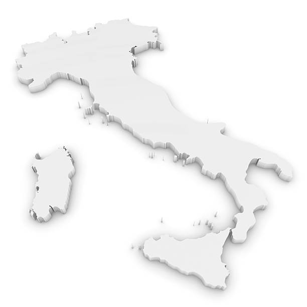 white 3d illustration map outline of italy isolated on white - italy map stock photos and pictures