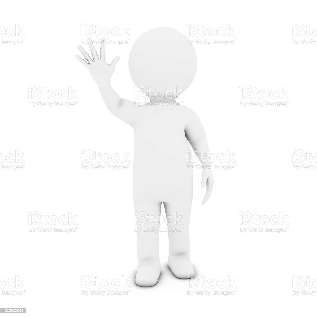White 3D Man Character Waving 3D Illustration stock photo