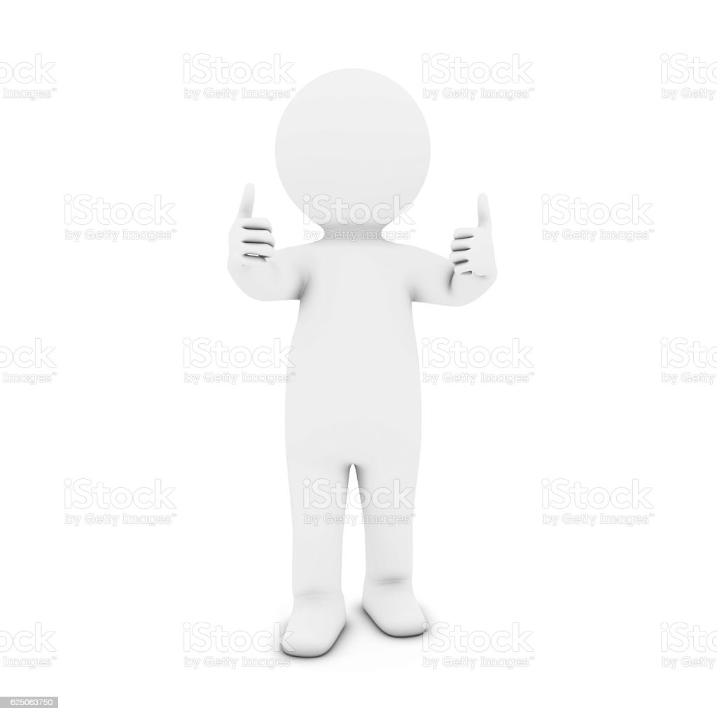 White 3D Man Character with Two Thumbs Up 3D Illustration stock photo